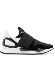 Runner Elastic leather and suede-paneled neoprene sneakers