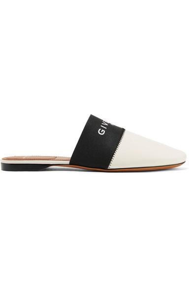 Givenchy Bedford Slippers aus Leder mit elastischer Partie mit Logoprint