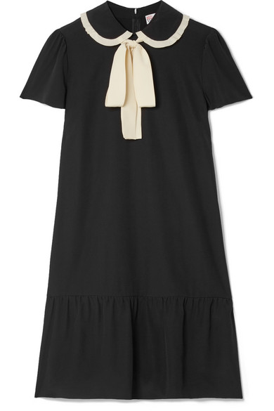 REDValentino - Pussy-bow Silk Crepe De Chine Mini Dress - Black