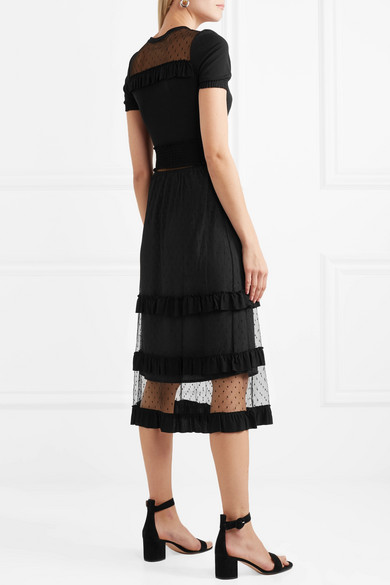 Redvalentino Midi Dress In Stretch Jersey With Ruffles And Point Desprit