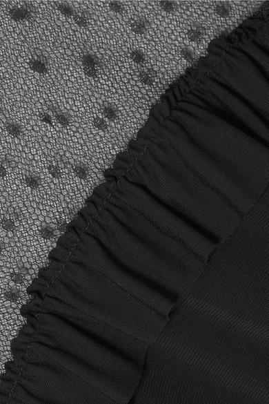 REDValentino Midikleid aus Stretch-Jersey mit Rüschen und Point d'Esprit