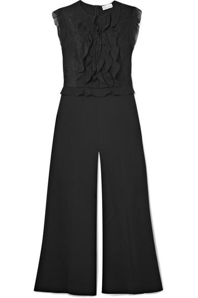 REDValentino - Ruffled Chiffon, Crepe And Lace Jumpsuit - Black