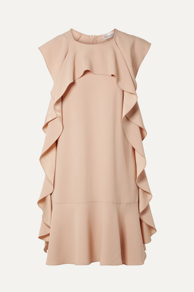 6fbc4349dc7 Red Valentino Ruffled Crepe Mini Dress