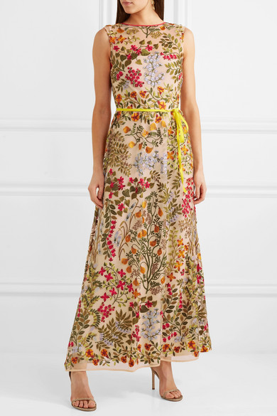 Redvalentino Embroidered Maxi Dress In Tulle