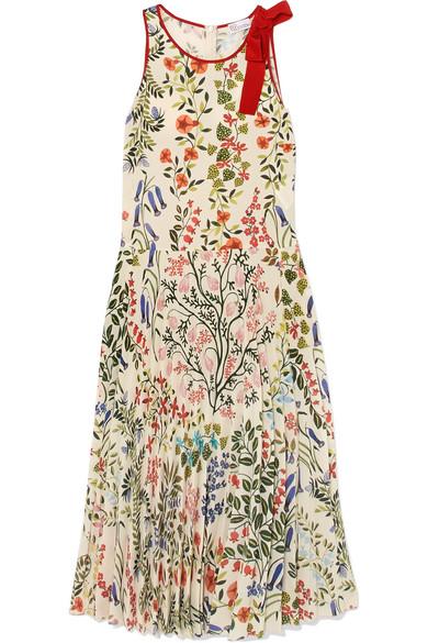 REDValentino Plissiertes Kleid aus bedrucktem Crêpe mit Schleife