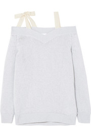 REDValentino Cold-shoulder bow-embellished wool sweater