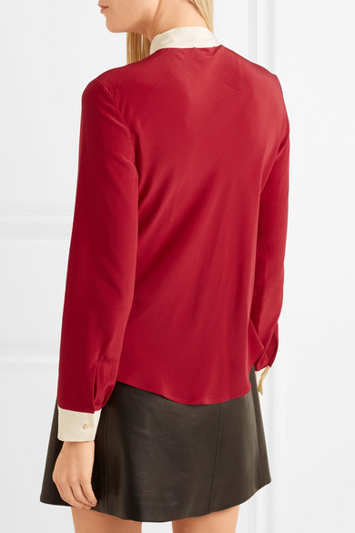 Redvalentino Two-tone Blouse In Crêpe De Chine Silk From