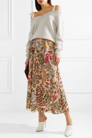 Embroidered tulle midi skirt