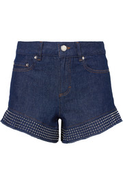 Studed ruffled denim shorts
