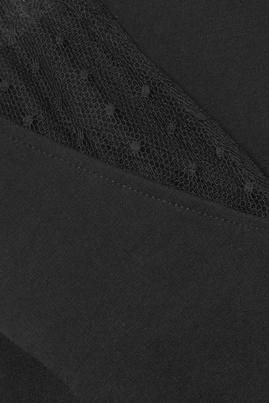 REDValentino Oberteil aus Tüll mit eingewebten Punkten und Baumwollfrottee mit Stretch-Anteil Sast Günstig Online Online Wie Vielen Verkauf Rabatt Suche Perfekt Verkauf Sammlungen xEsSH