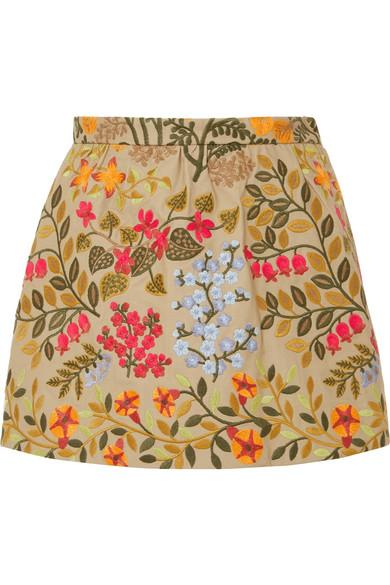 REDValentino - Embroidered Cotton-twill Shorts - Yellow
