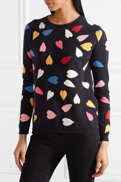 Chinti and Parker Confetti Heart Kaschmirpullover