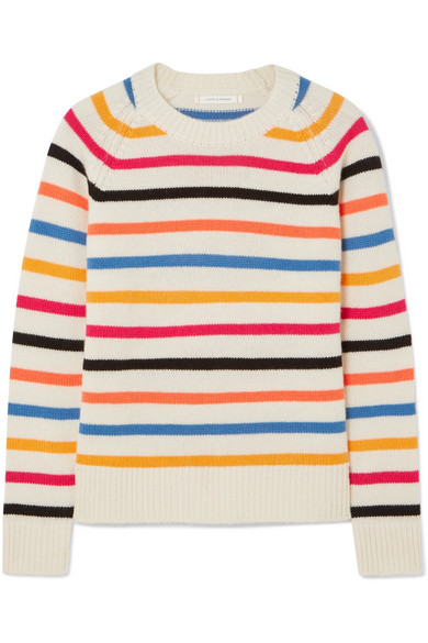Chinti and Parker - Striped Cashmere Sweater - Pink