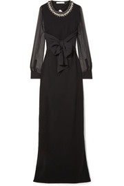 Givenchy Embellished silk and tulle-trimmed stretch-cady gown