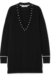 Givenchy Faux pearl-embellished wool-blend sweater
