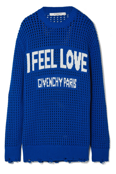 Oversized Distressed Intarsia Crocheted Cotton Sweater by Givenchy
