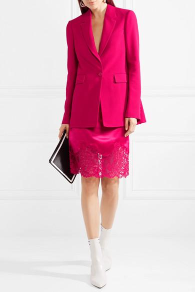 Givenchy Rock aus Seidensatin mit Spitzenbesatz