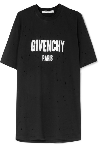Givenchy T-Shirt aus bedrucktem Baumwoll-Jersey in Distressed-Optik und Oversized-Passform