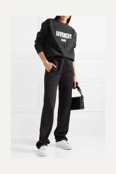 Givenchy Oversized-sweatshirt In Cotton Terry In Distressed-optics With Print