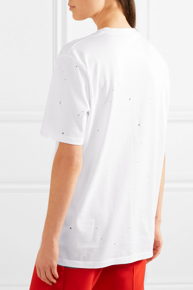 Givenchy T-Shirt aus bedrucktem Baumwoll-Jersey in Distressed-Optik und Oversized-Passform