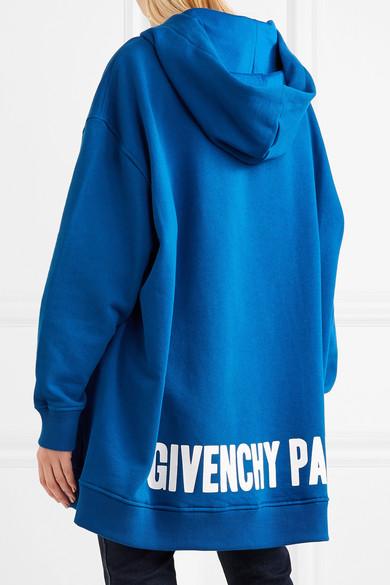 Givenchy Oversized-Kapuzenoberteil aus Baumwoll-Jersey mit Seidenbesatz