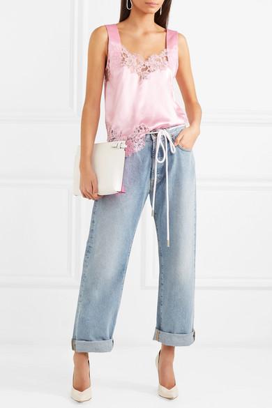 Givenchy Top aus Seiden-Charmeuse mit Spitzenbesätzen