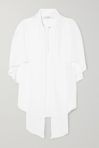 Givenchy - Pussy-bow Cape-effect Silk-georgette Blouse - White