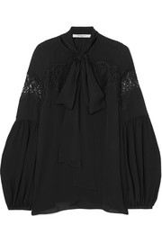 Givenchy Lace-trimmed silk-georgette blouse