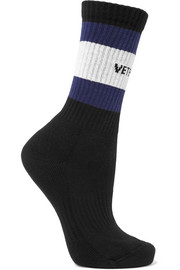 + Tommy Hilfiger intarsia ribbed cotton-blend socks