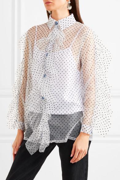 House of Holland Hemd aus Tüll mit Rüschen und eingewebten Punkten