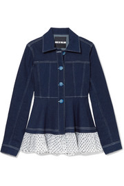 Swiss-dot tulle-trimmed denim jacket