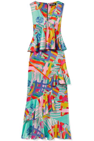House Of Holland NOVA RUFFLED PRINTED SATIN MAXI DRESS