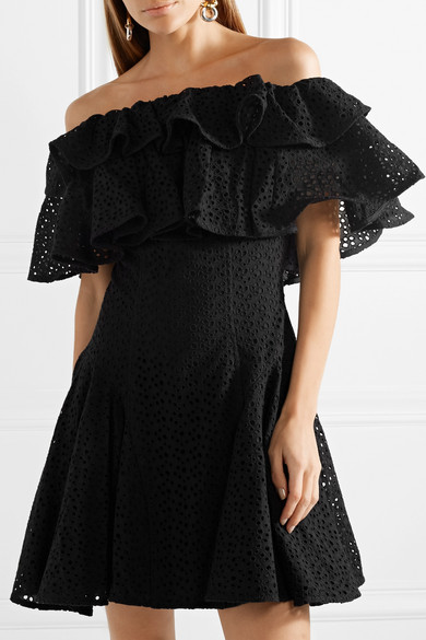 Off-the-shoulder Ruffled Broderie Anglaise Mini Dress - Black House Of Holland luqJ7vOV