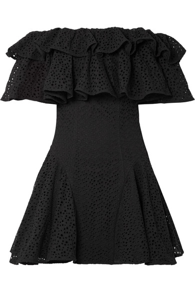 Off-the-shoulder Ruffled Broderie Anglaise Mini Dress - Black House Of Holland sK3El