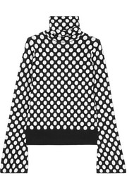 Polka-dot jacquard-knit turtleneck sweater