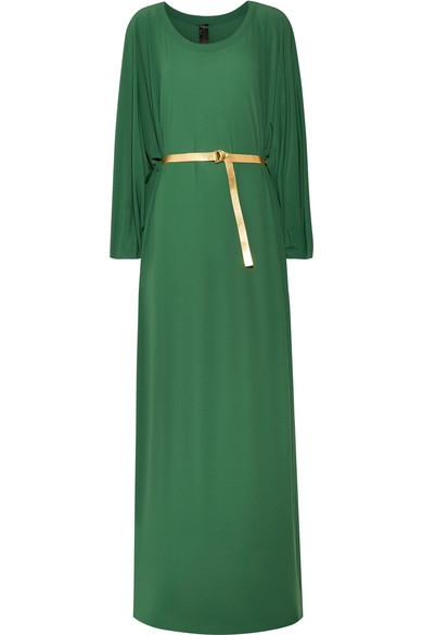 Norma Kamali - Belted Jersey Maxi Dress - Forest green