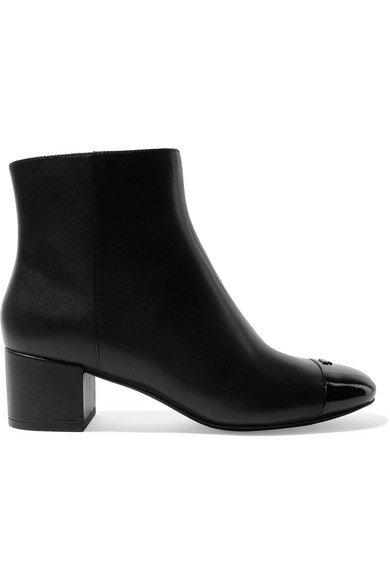 9c17388c45ed Tory Burch. Shelby patent-trimmed leather ankle boots