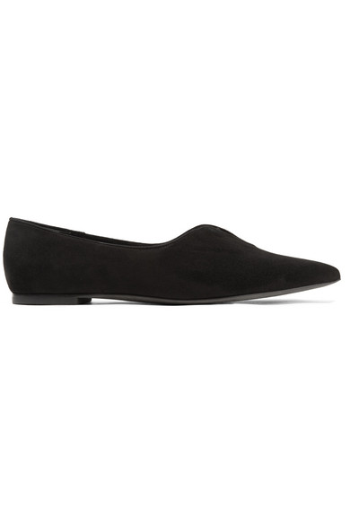 Lucia Oxford Suede Point-toe Flats - Black Tory Burch 43CIdzGG6
