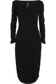 Tara reversible ruched stretch-jersey midi dress