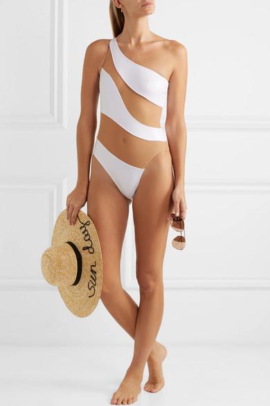 Norma Kamali Mio Badeanzug mit Bahnen aus Mesh und asymmetrischer Schulterpartie