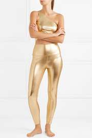 Norma Kamali Metallic stretch-jersey leggings