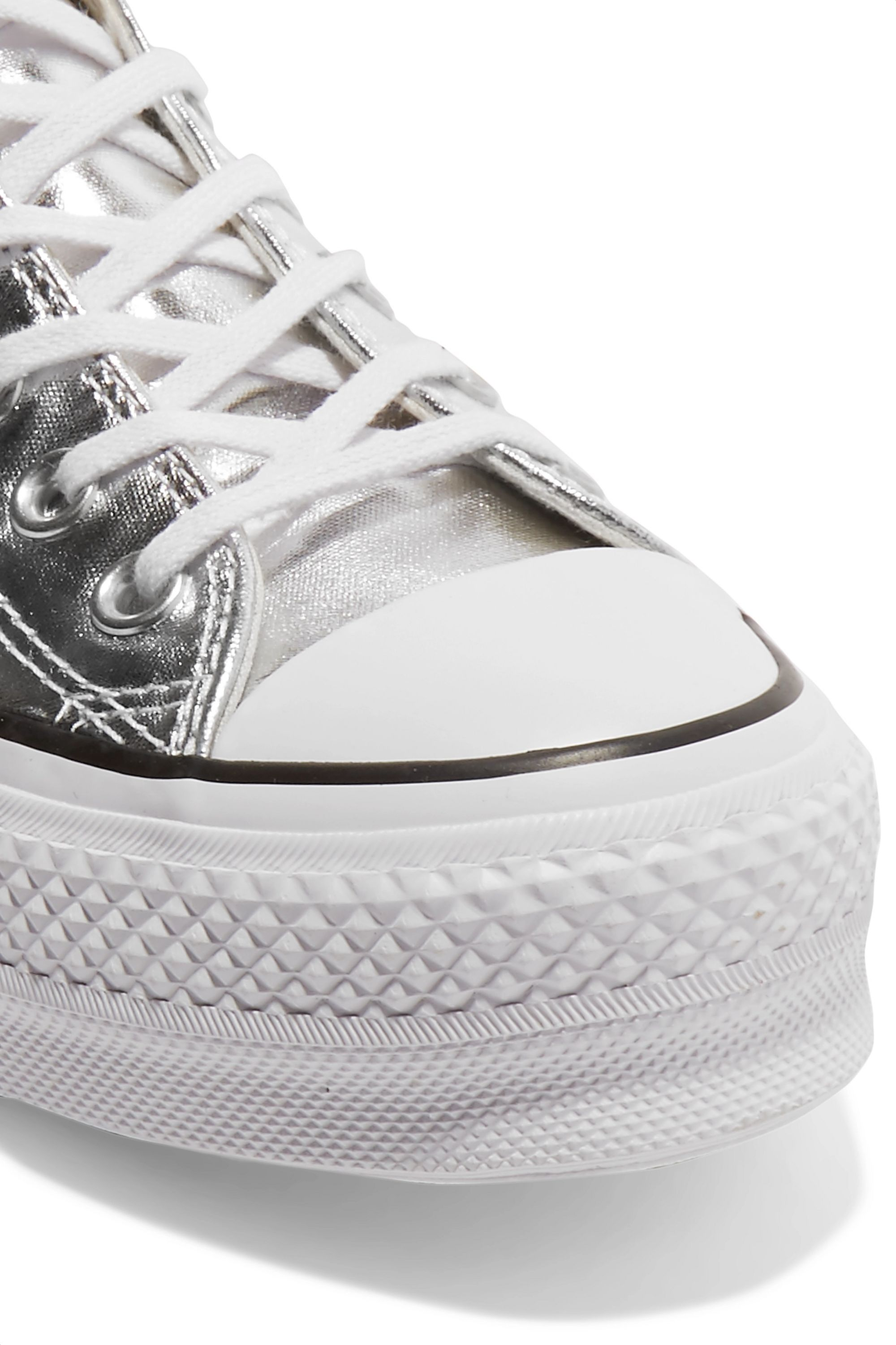 Chuck Taylor All Star Lift metallic textured-leather platform sneakers