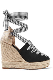 Lula gingham-trimmed canvas wedge espadrilles