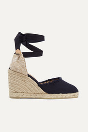 Carina Espadrille-Wedges aus gefranstem Canvas
