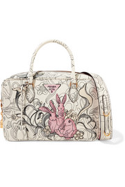 Bauletto printed textured-leather tote