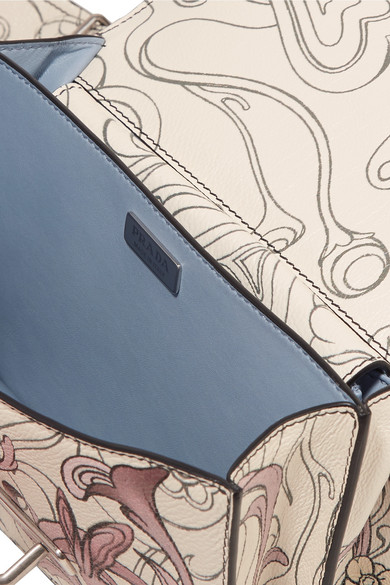 Prada Cahier Schultertasche aus bedrucktem Leder