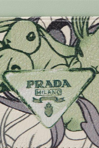 Prada Bedrucktes Kartenetui aus strukturiertem Leder