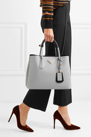 Double textured-leather tote