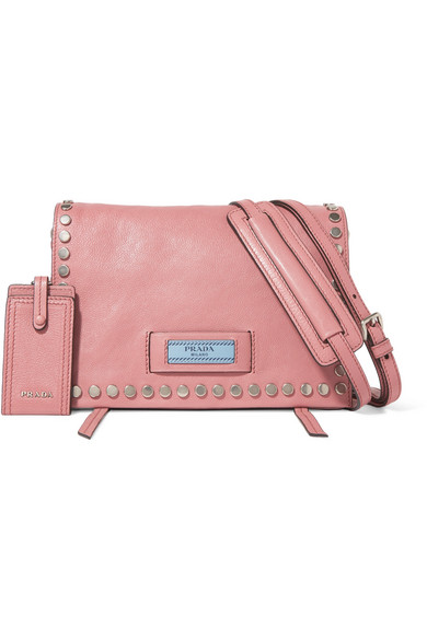 aa421f5388df Prada. Etiquette small studded leather shoulder bag
