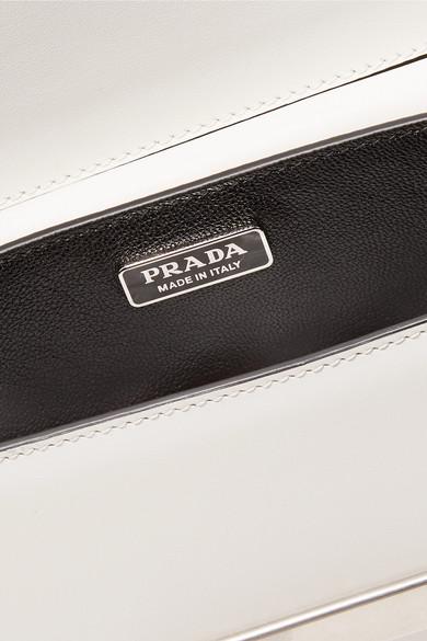 Prada Cahier zweifarbige Schultertasche aus Leder mit Verzierungen